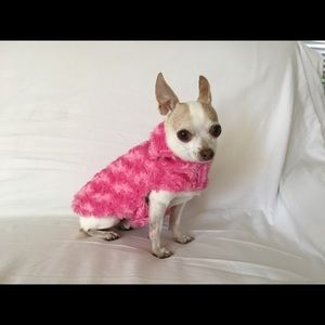 Other - Pink faux fur and floral reversible dog jacket